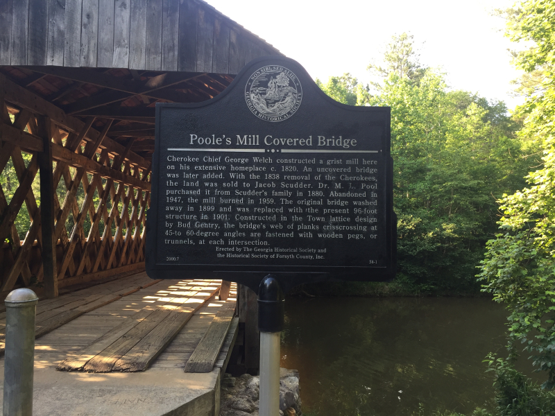 Poole's Mill Covered Bridge Historic Sign  Cumming GA