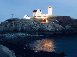 Nubble Lighthouse at night